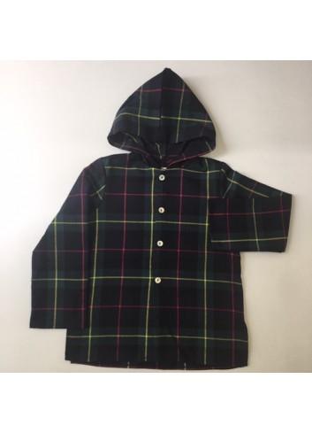 Camisa polera con capucha de cuadro escocés de Mia y Lia