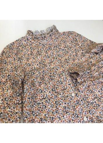 Blusa con estampado liberty en colores naranjas y marrones de la marca Mia y Lia