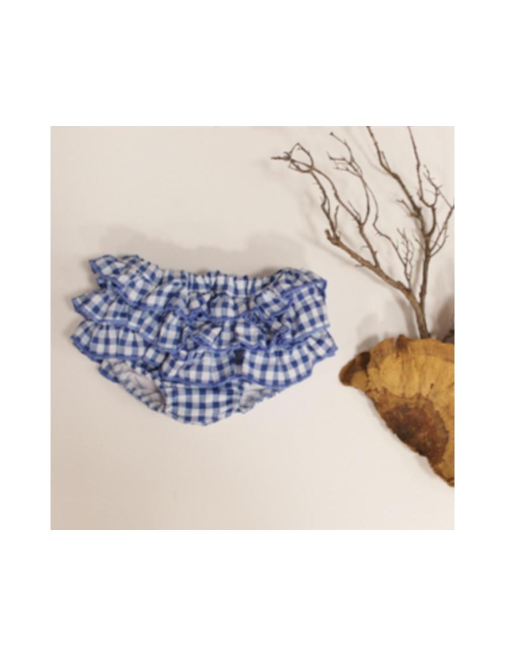 Cubre multivolante vichy azul de El tocador de Victoria