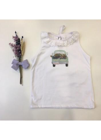 Camiseta de algodón sin mangas con puntilla en el cuello y dibujo de El tocador de Victoria
