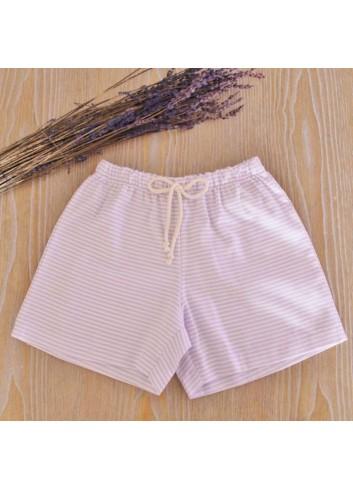 Bermuda de algodón de rayitas color lavanda