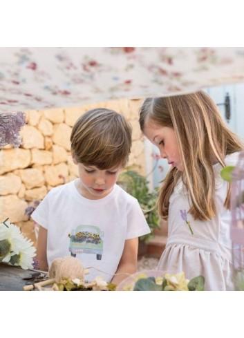 Camiseta de algodon y manga corta para niño con dibujo