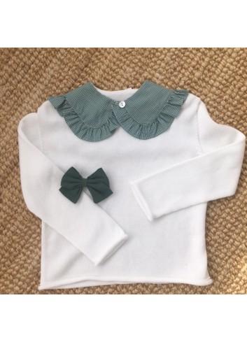 Cuello de tela mini vichy verde, de la marca Dbb