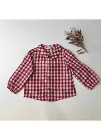 Camisa cuadros vichy granate cuello bebé dela marca Fina Ejerique