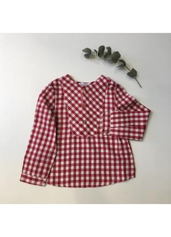 Camisa polera cuadro vichy granate dela marca Fina Ejerique