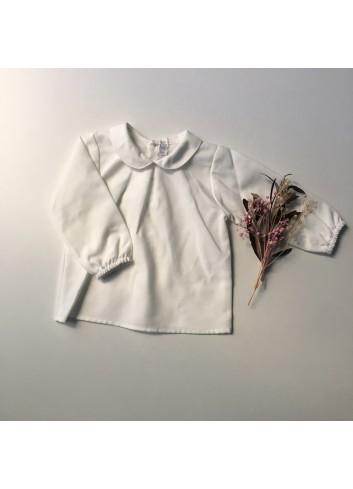 Blusa básica blanca de viella con cuello de bebé de la marca Paloma de la O