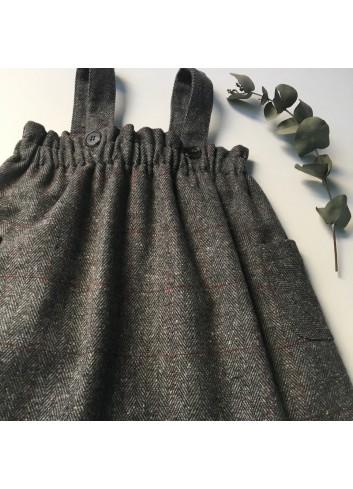 Pichi gris con cuadros granate de la marca Paloma de la O
