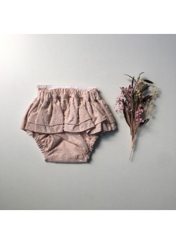 Culetin rosa de plumetti con volantes de la marca Paloma de la O
