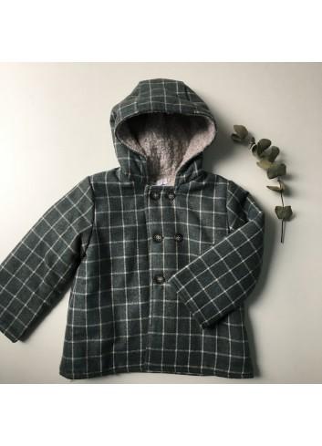 Chaquetón cuadros gris con interior de borreguito de la marca Paloma de la O