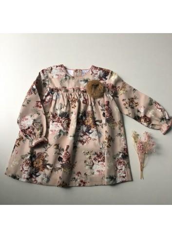 Vestido de flores Saboya en tonos rosados de la marca Paloma de la O