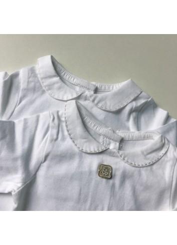 Body de algodón blanco con cuello bebé detalle pasadas gris perla de la marca Al agua patos