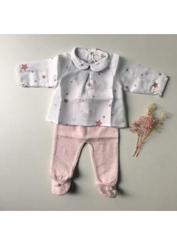 Blusa cuello bebé con estampado de estrellas de la marca Al agua patos