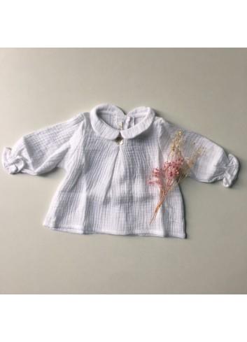Blusa bambula blanca cuello de bebé de la marca Al agua patos