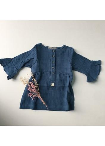 Vestido de bambula azul con detalle de volante en las mangas de la marca Al agua patos