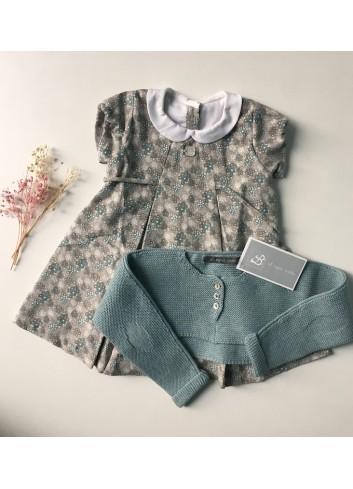 Vestido gris con estampado verde agua de la marca Al agua patos