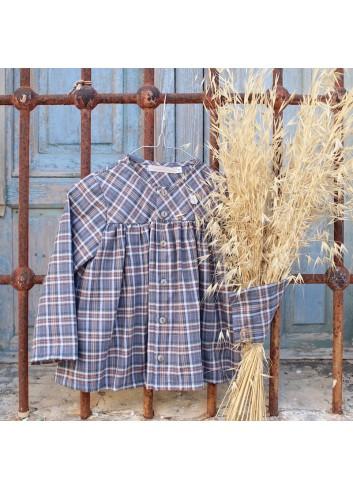 Camisa de estampado de cuadros tartán en color indigo de la marca El tocador de Victoria