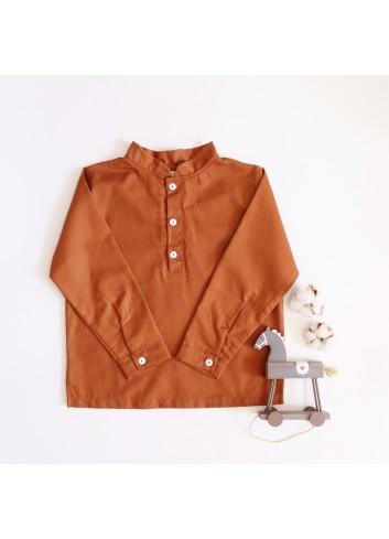 Camisa de niño cuello mao color caldera de la marca El tocador de Victoria