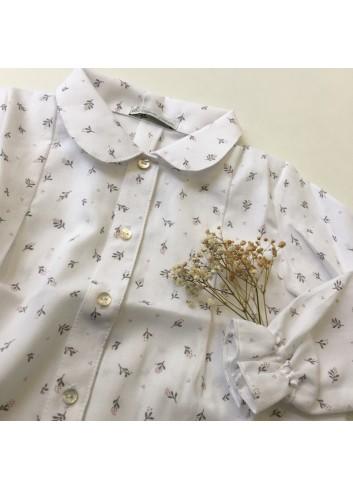 Blusa Andrea con estampado de flores en gris y rosa de la marca Al agua patos