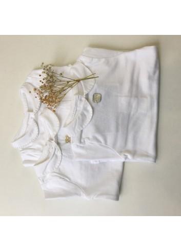 Body de algodón con cuello y puños de hilo y pasadas color crudo en el  cuello de la marca Al agua patos