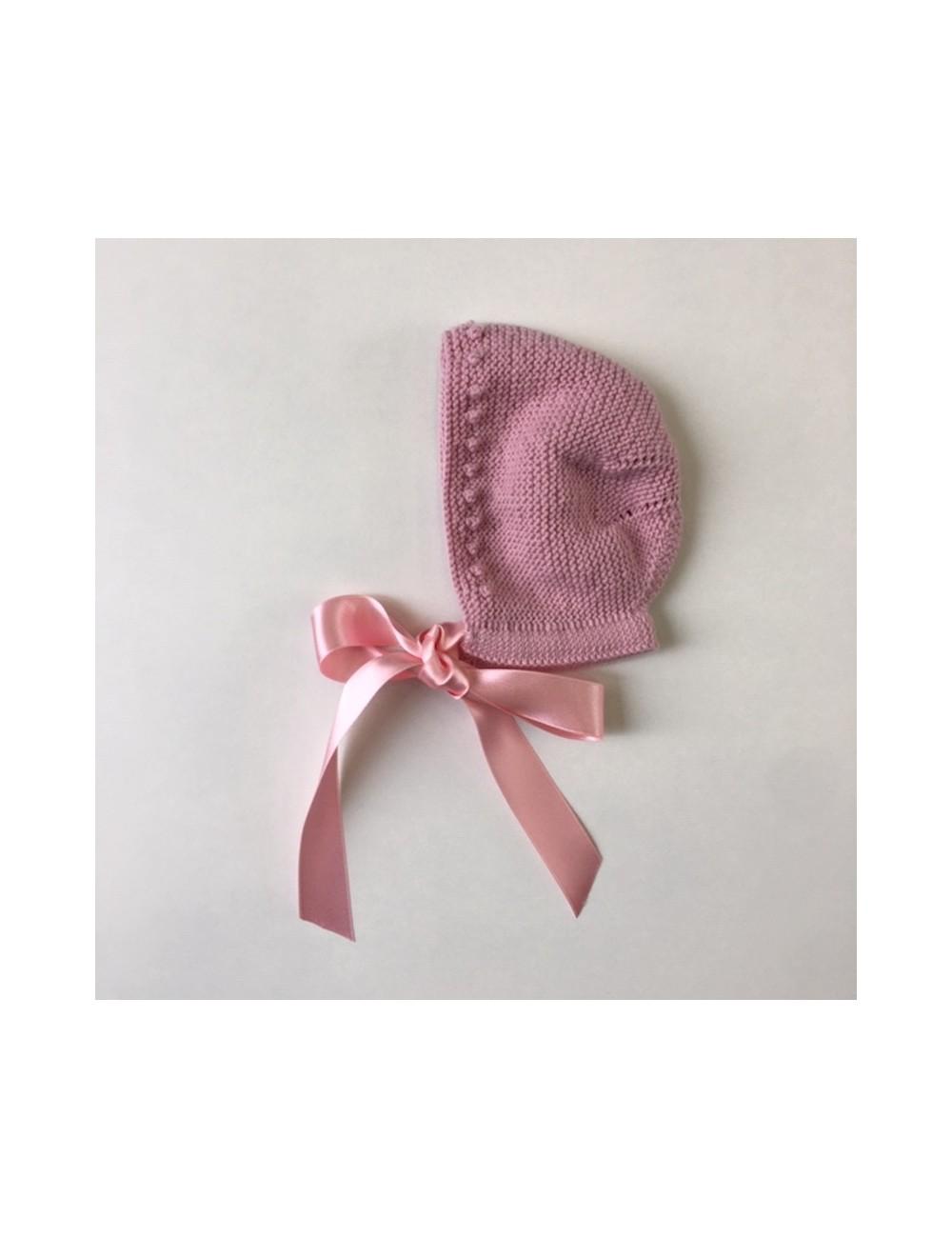 Capota tejida a mano de lana merino 100% de nuestra marca exclusiva Olivo y paniculata.