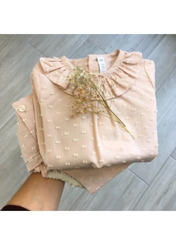 Conjunto culetin y blusa de plumetti rosa de la marca Paloma de la O
