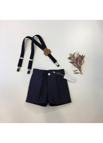 Pantalon corto sarga azul marino de la marca Pilar Batanero.