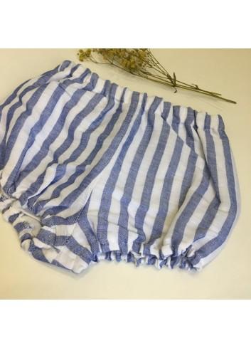 Pololo de lino de rayas azul y blanco de la marca Pilar Batanero