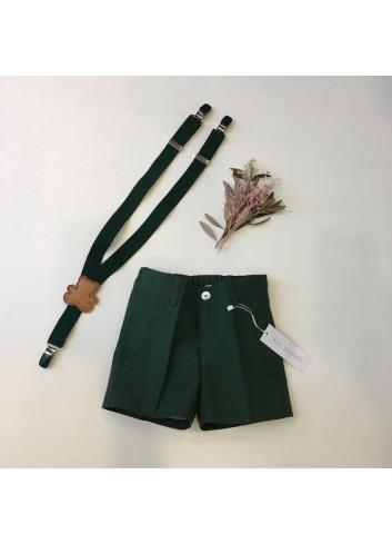 Pantalon corto sarga verde botella de la marca Pilar Batanero.