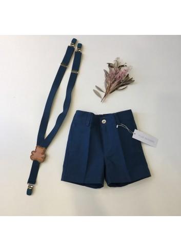 Pantalón corto sarga azul azafata de la marca Pilar Batanero.