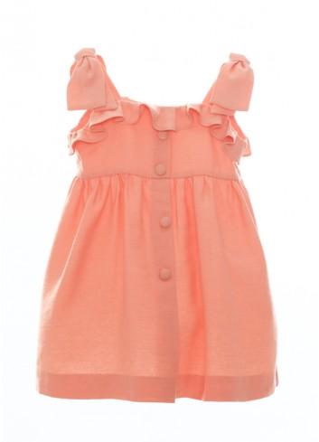 Vestido de tirantes con detalles de volantes en color naranja fluor de la marca Bonsuit