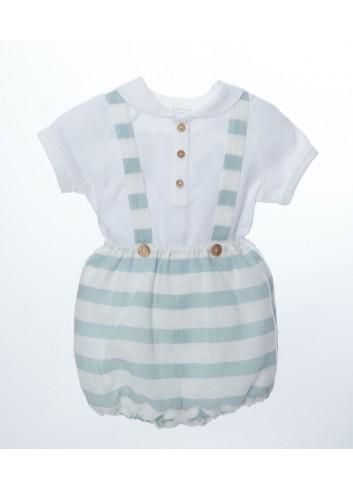 Conjunto de 2 piezas compuesto por camisa de lino cuello bebe y bombacho de rayas verde agua con tirantes de la marca Bonsuit