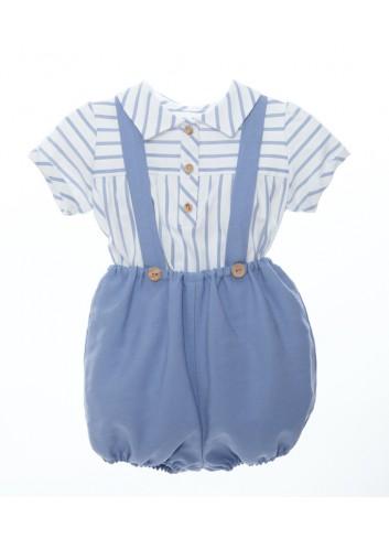 Conjunto de 2 piezas compuesto por camisa de rayas azules y bombacho azul de lino con tirantes de la marca Bonsuit