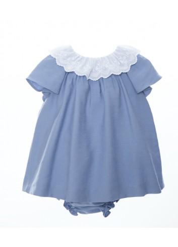 Mini vestido azul con cuello de tira bordada de la marca Bonsuit