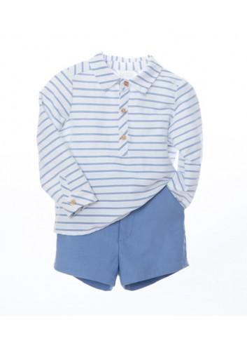 Conjunto de 2 piezas compuesto por camisa de manga larga de rayas azules y pantalon corto sarga recto azul de la marca Bonsuit