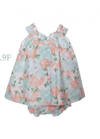Mini vestido de lino con estampado de flores grandes, incluye braguita de la marca Bonsuit