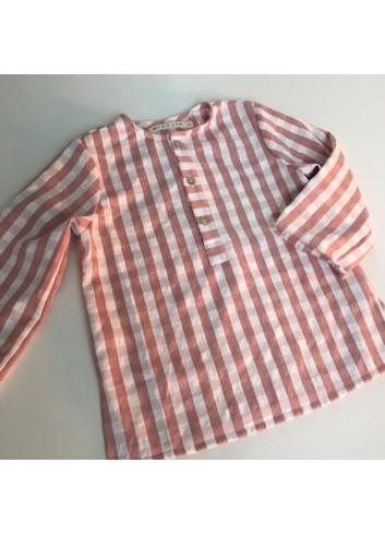 Camisa polera cuadro vichy rosa de la marca Mia y Lia