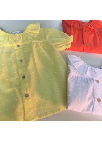 Blusa plumetti amarilla cuello de volante de la marca Paloma de la O