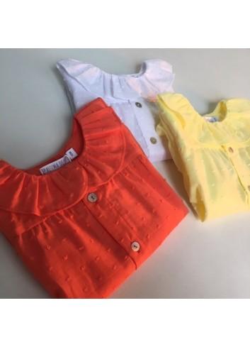 Blusa plumetti coral cuello de volante de la marca Paloma de la O