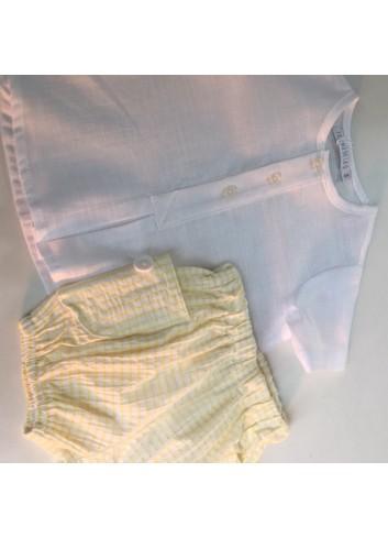 Conjunto 2 piezas bebe compuesto por culetin mil rayas amarillo y camisita cuello bebe blanca
