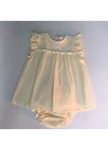 Mini vestido mil rayas amarillo con bordados a mano, incluye braguita de la marca Paloma de la O