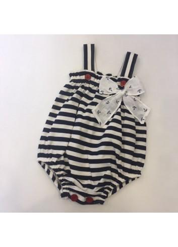 Pelele marinero de algodon con detalle de lazo de lino de la marca Paloma de la O