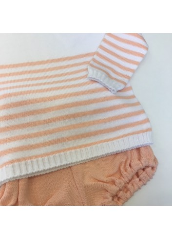 Conjunto de punto compuesto por jersey de rayitas y braguita de punto color mandarina de la marca Paloma de la O