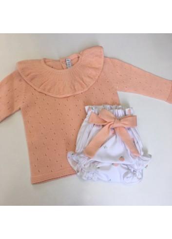 Conjunto compuesto por braguita con estampado de mandarinas y jersey de punto calado con volante d la marca Paloma de la O