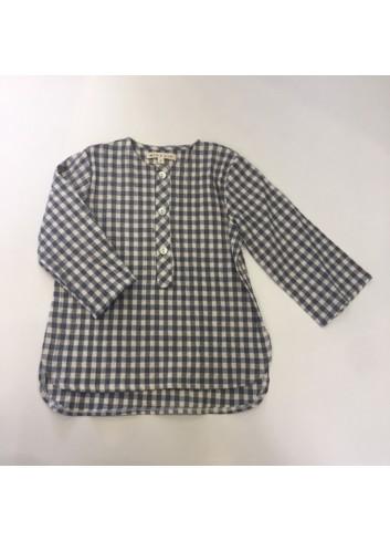 Camisa polera de cuadros gris de la marca Mia y Lia