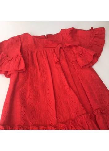 Vestido calado rojo con volantes de la marca Fina Ejerique