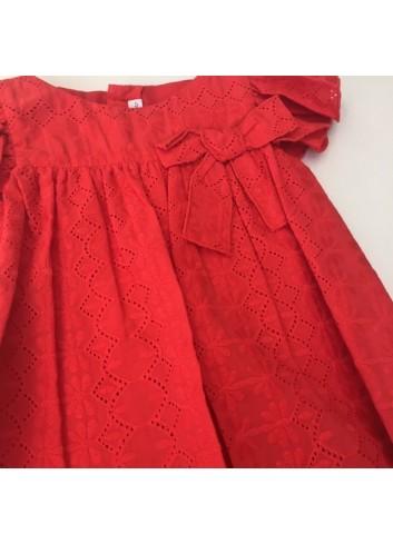 Vestido calado rojo con volantes, braguita incluida de la marca Fina Ejerique
