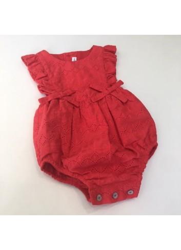 Pelele rojo calado de la marca Fina Ejerique