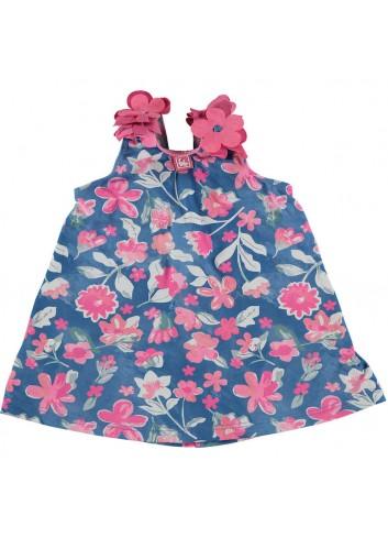 Conjunto compuesto por culetin de niña y camiseta de tela de bañador de estampado rosa y azul de la marca Al agua patos