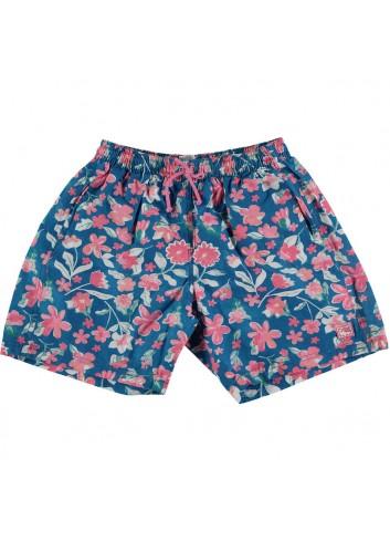 Conjunto formado por bañador niño estampado azul y rosa y camiseta con detalle azul y rosa de la marca Al agua patos