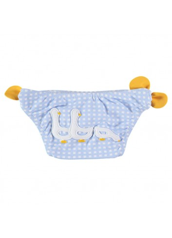 Culetin de cuadritos azul y blanco con detalle trasero de patitos y lazos amarillos de la marca Al agua patos